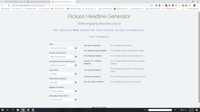 Kickass Headline Generator Blogging Tool