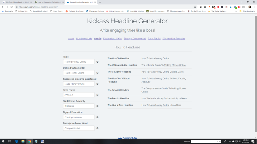 Kickass Headline Generator Blogging Tool